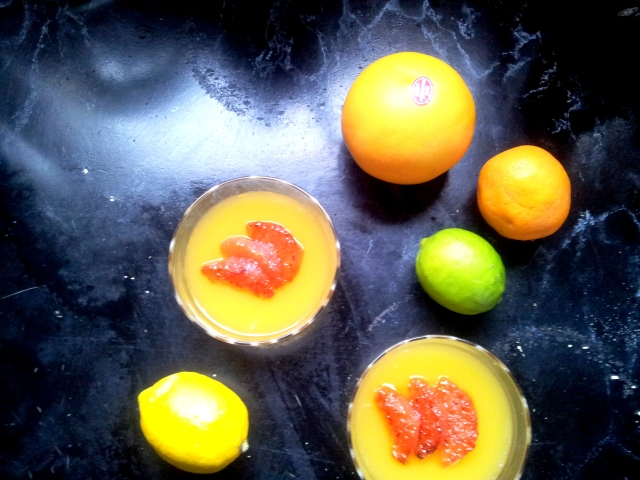 Citrus Jelly with Caramelised Pink Grapefruit