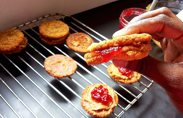 PB + Jelly Oatmeal Sandwich Cookies  - Oh So Sweet Baker