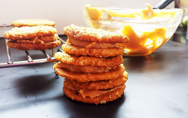 PB Oatmeal Sandwich Cookies Stacked - Oh So Sweet Baker